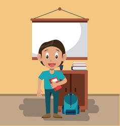 boy in classroom vector image