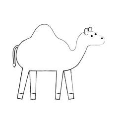 Camel animal manger christmas cartoon vector