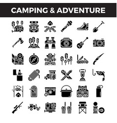 camping and outdoor adventure solid icons vector image