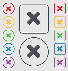 Cancel multiplication icon sign symbol on the vector