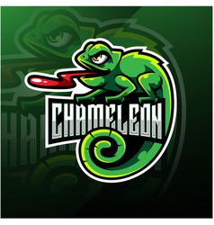 chameleon esport mascot logo design vector image