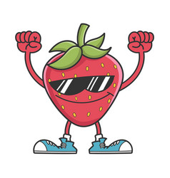 Cheering strawberry character with sunglasses vector