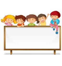 Children on whiteboard banner vector