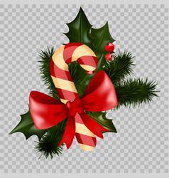 christmas decoration holly fir wreath bow candy vector image