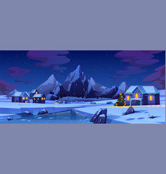christmas night in mountain city or canada xmas vector image