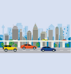 City building with cars on the road and expressway vector