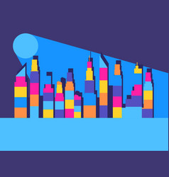 cityscape with skyscrapers the contours of vector image