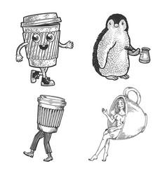 Coffee set line art sketch vector
