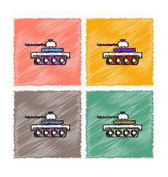 Collection of flat shading style icons army tank vector