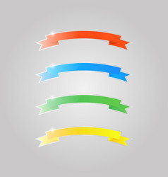 colored shiny glass ribbons on a gray background vector image
