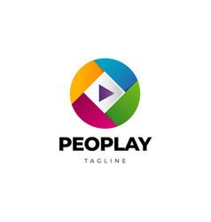 colorful play media button logo icon design vector image