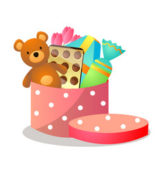 colorful red dotted gift box with teddy bear vector image
