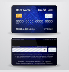 Detailed realistic credit card front and back vector