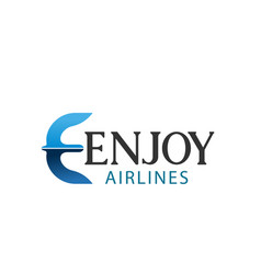 e letter icon for enjoy airlines company vector image