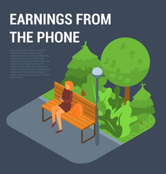 earnings from the phone concept background vector image