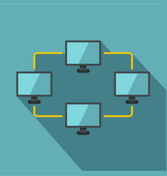 Exchange of data between computers icon flat style vector