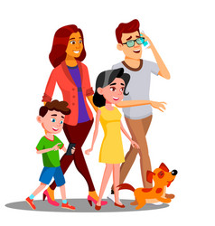 Family walking spending time together outdoor vector