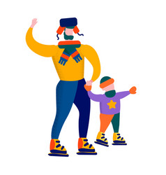 father and son skating winter family games banner vector image