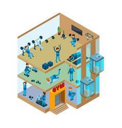 fitness center interior gym sport club with vector image