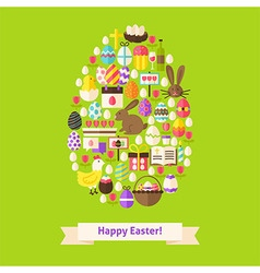 Flat Happy Easter Objects Concept Egg Shaped vector