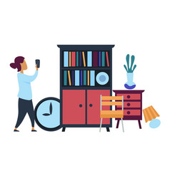 Flea market woman making photo of furniture for vector