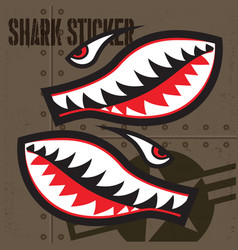 Flying tiger shark mouth sticker vinyl 2 vector
