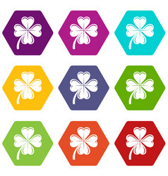 four leaf clover icons set 9 vector image
