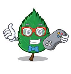 Gamer mint leaves mascot cartoon vector