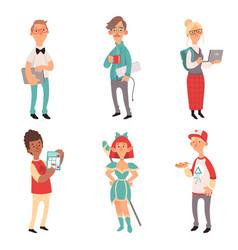 Geek characters girl and boys nerd computer vector