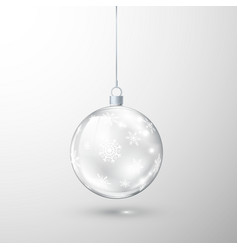 glass transparent christmas ball ornate vector image