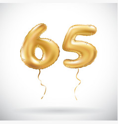 Golden number 65 sixty five metallic balloon vector