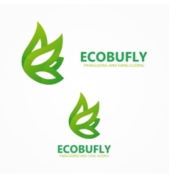 Green eco butterfly logo or icon vector