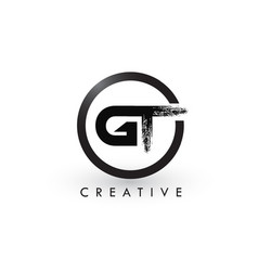 Gt brush letter logo design creative brushed vector