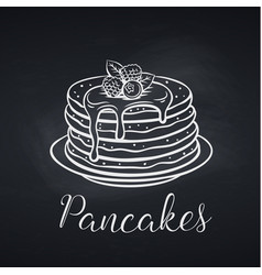 hand drawn pancakes on chalkboard vector image