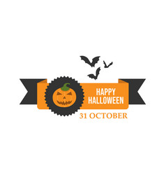 happy halloween ribbons and greeting card design vector image