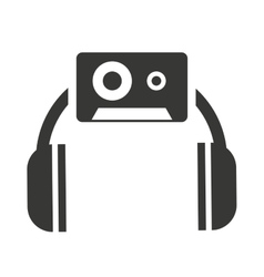 headset silhouette with audio icon vector image