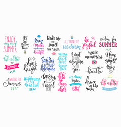 Hello summer lettering typography big set vector