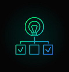 Hierarchy with lightbulb colored line icon start vector
