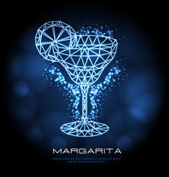 hipster polygonal cocktail margarita neon sign vector image