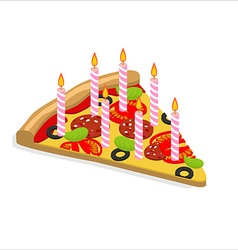 Holiday candles pizza with isometrics Birthday vector image