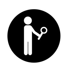 Human figure with search magnifying glass icon vector