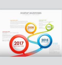 Infographic startup milestones timeline template vector