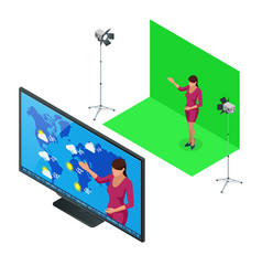 Isometric weather forecast a television vector