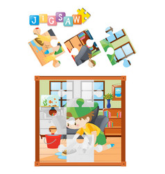 jigsaw puzzle game with kid cleaning floor vector image