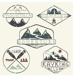 kayaking campingclimbing and adventure vintage vector image