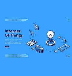 Landing page iot technologies in smart home vector