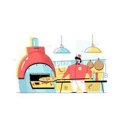 Man baking pizza vector