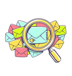Many color envelopes and magnifying glass vector