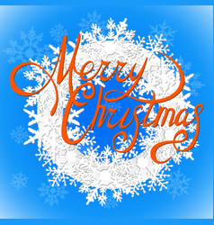 merry christmas orange inscription and a wreath of vector image