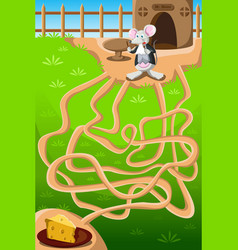 Mouse and cheese maze vector